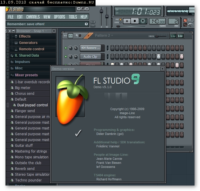 графический файл, картинка как выглядит FL Studio Fruity Loops Редактор создание музыки диджею композитору битмейкеру после установки
