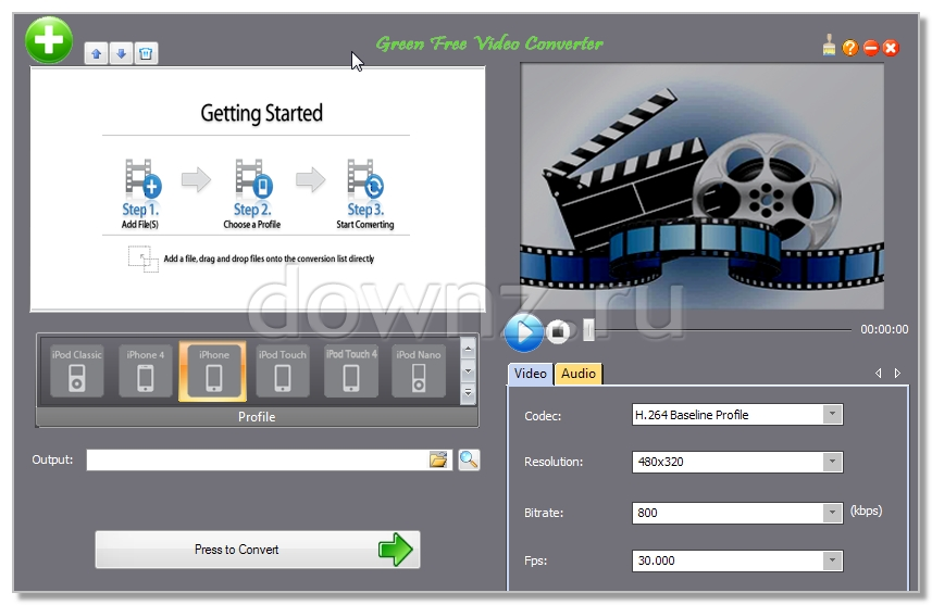 фото Green Free Video Converter бесплатный аудио видео конвертер AVI MP4 MKV WMV 3GP 3G2 SWF FLV MOV DV RM MP3 WAV