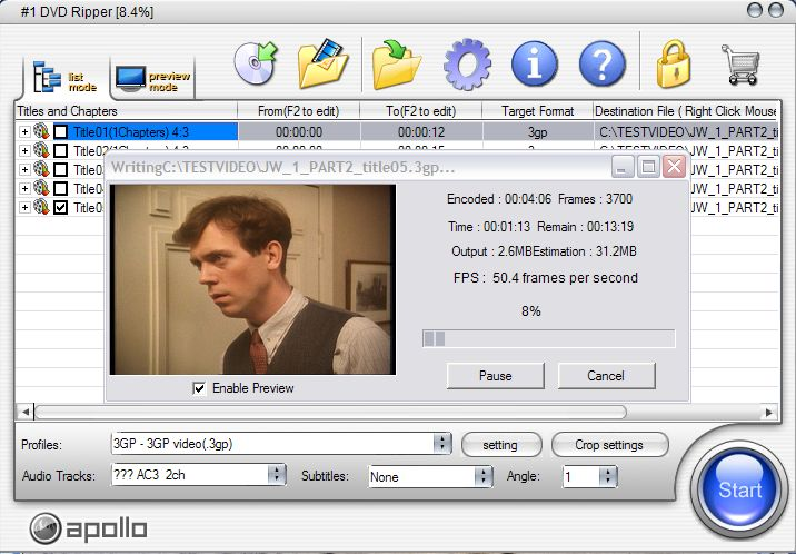 фото No.1 DVD Ripper Перевод DVD в другие форматы AVI 3GP MPEG
