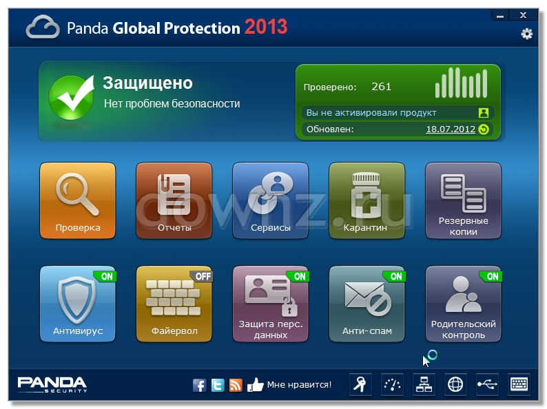 графический файл, картинка как выглядит Panda Global Protection 2013 антивирус Панда фаервол сканер антишпион оптимизация производительности антиспам родительский контроль после установки